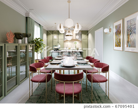 Dining area with dining table, turquoise chairs, 67095401