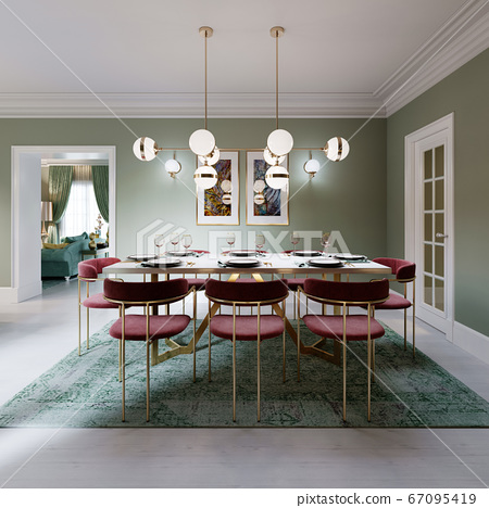 Dining area with dining table, turquoise chairs, 67095419
