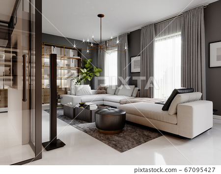 large living room with a large white corner sofa 67095427