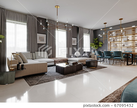 large living room with a large white corner sofa 67095432