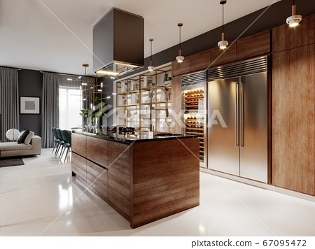 Luxurious kitchen modern style with wooden 67095472