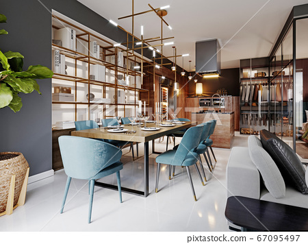 Large modern dining table in a trendy style, 67095497