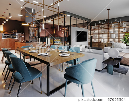 Large modern dining table in a trendy style, 67095504