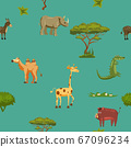 Animals Africa rhinoceros giraffe donkey crocodile boar camel seamless pattern. Vector illustration cartoon style 67096234