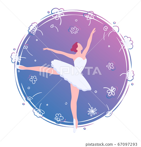Flat ballerina in flower card illustration. Dance in purple circle clock template. Ballet art banner, logo, emblem, poster vector isolated on white background. Cartoon dancer with decoration frame 67097293