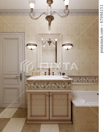Bathroom in art deco style, beige tiles on the 67098151