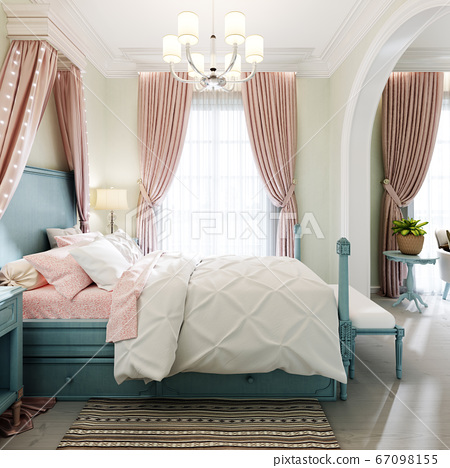 Children's bedroom with a large bed, a large 67098155