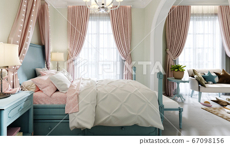 Children's bedroom with a large bed, a large 67098156