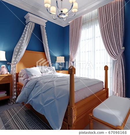 Design of a children's bedroom, four-poster bed, 67098168