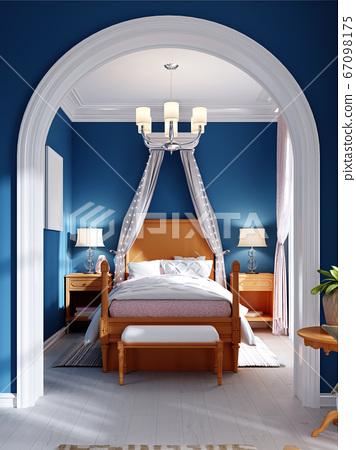 Design of a children's bedroom, four-poster bed, 67098175