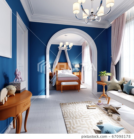 Childrens bedroom and play area in blue, orange 67098178