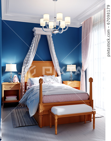 Design of a children's bedroom, four-poster bed, 67098179