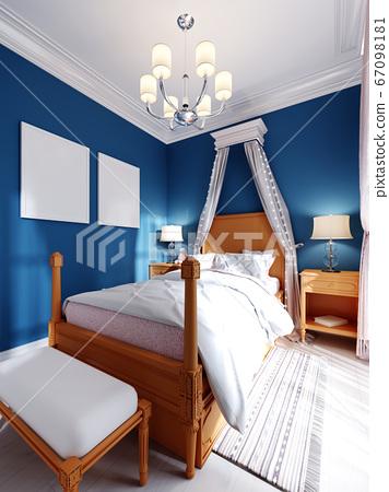 Design of a children's bedroom, four-poster bed, 67098181