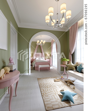 Childrens room in pistachio and pink color, two 67098195