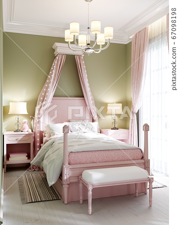 Childrens bedroom with a large pink bed and a 67098198