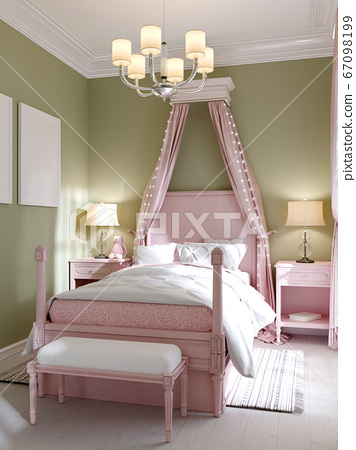 Childrens bedroom with a large pink bed and a 67098199