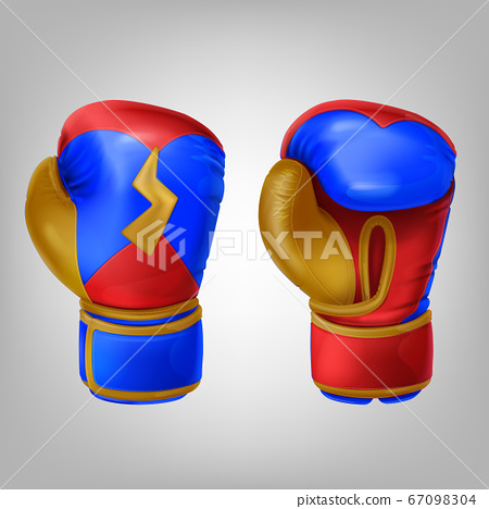 Realistic pair of leather colored boxing gloves 67098304