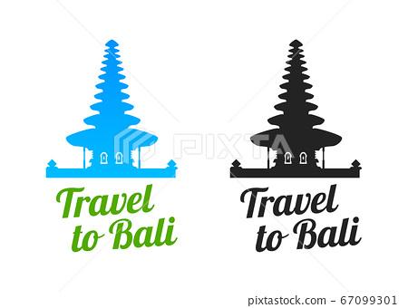 Travel to Bali Logo with Bratan Temple 67099301