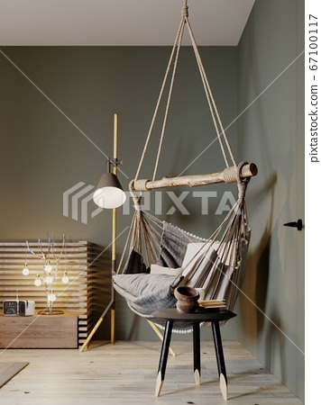 Boho style hanging chair in a modern bedroom. 67100117
