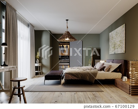 Modern loft style bedroom with a trendy bed and 67100129