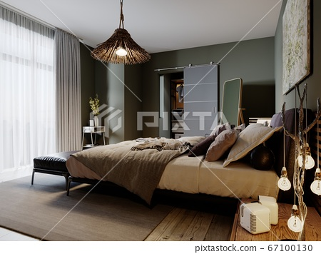 Modern loft style bedroom with a trendy bed and 67100130