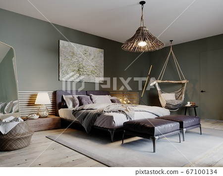 Boho style bedroom interior with olive color walls 67100134