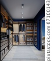 Wardrobe in the apartment with blue walls. 67100143