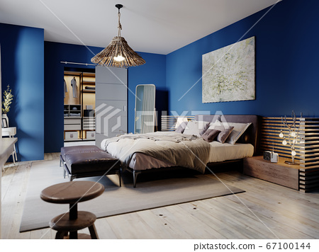 Fashionable modern loft style bedroom with blue 67100144