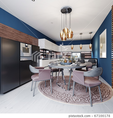 Luxurious multi-colored kitchen with dining tables 67100178