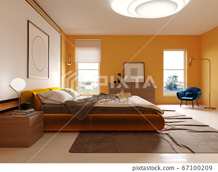 Design of a modern bedroom in yellow with a white 67100209