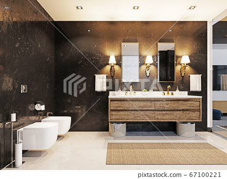Double wooden washbasin with two mirrors and a 67100221