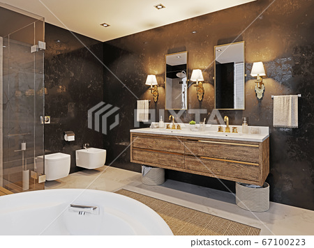 Double wooden washbasin with two mirrors and a 67100223