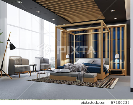 Modern fashionable design of a bedroom, a bed with 67100235