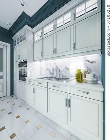 Designer white kitchen furniture in a classic 67100250