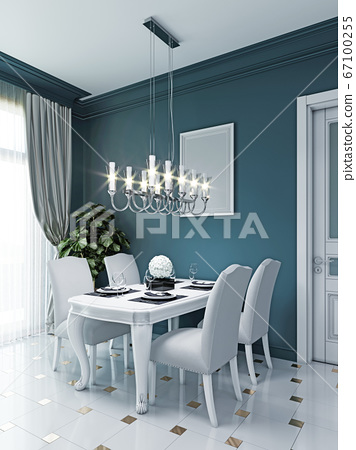 Dining area in the kitchen with a white dining 67100255