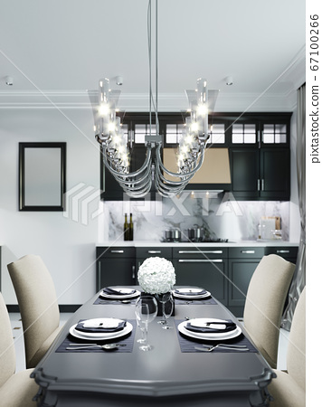 Black dining table with four soft chairs in beige. 67100266