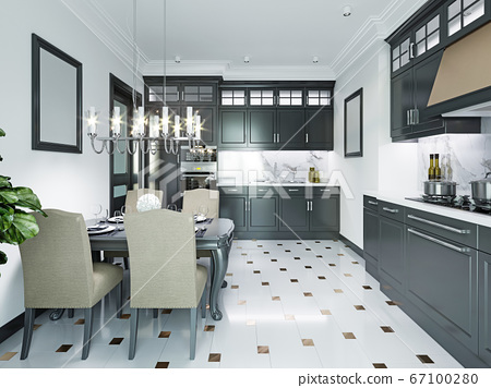Black-white kitchen in a classic style. 67100280