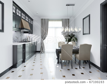Black-white kitchen in a classic style. 67100283