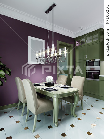 Dining table with four chairs in the kitchen, 67100291