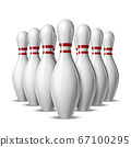Group of ten bowling pins. Skittles with red stripes for Sport competition or Activity and fun game. 67100295