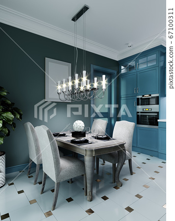 Dining room with dining table with four chairs. 67100311