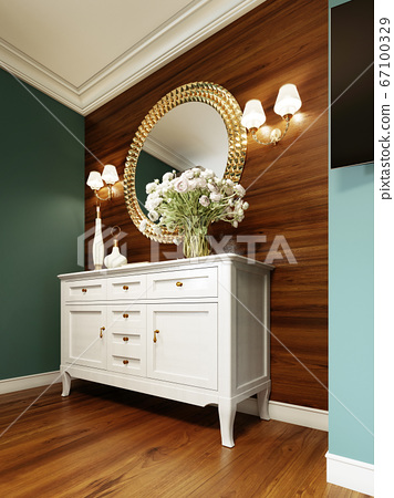White classic chest of drawers with decor and a 67100329