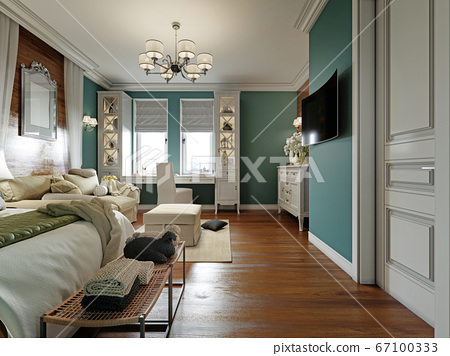 Bedroom with a sofa bed and a table by the window, 67100333