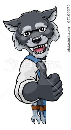 Wolf Mascot Plumber Mechanic Handyman Worker 67100379