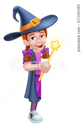 Kid Cartoon Girl Child Halloween Witch Sign 67100389
