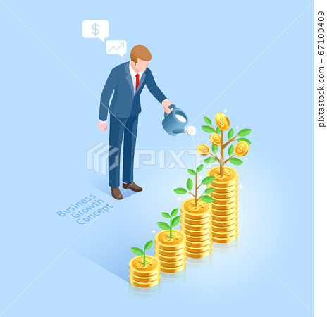 Business growth concept. Business man with pot 67100409