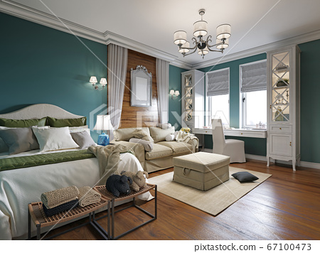 Bedroom with a sofa bed and a table by the window, 67100473