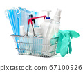 bottle of cream, lotion, sanitizer or liquid soap, latex rubber glover and protective mask in shopping cart basket isolated on white background 67100526