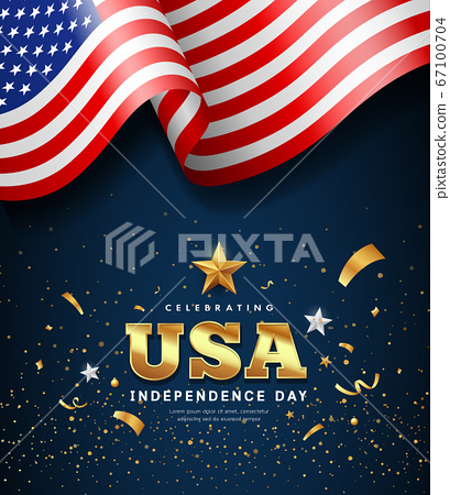American flag waving, independence day golden text usa design 67100704