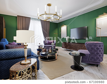 Living Room In Art Deco Style With, Art Deco Living Room